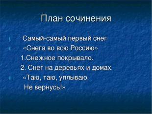 План сочинения Самый-самый первый снег «Снега во всю Россию» 1.Снежное покрыв