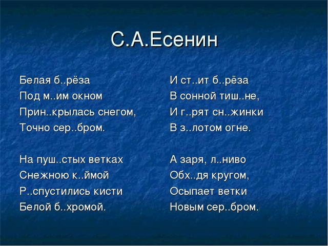 С.А.Есенин И ст..ит б..рёза В сонной тиш..не, И г..рят сн..жинки В з..лотом о...