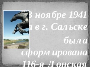 «В ноябре 1941 года в г. Сальске была сформирована 116-я Донская казачья кава