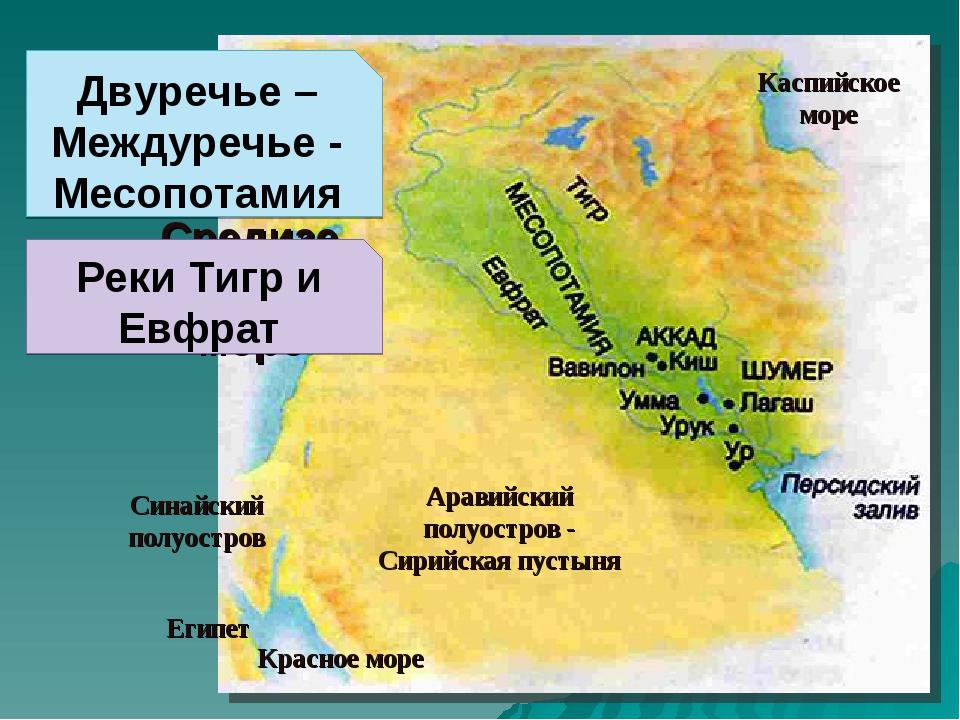 Двуречье – Междуречье - Месопотамия Аравийский полуостров - Сирийская пустыня...