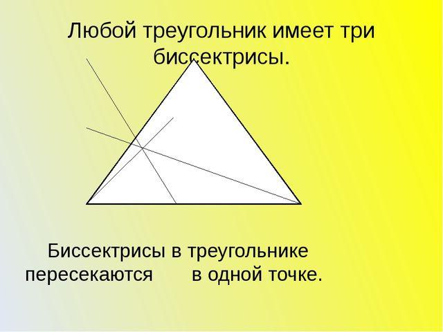 Любой треугольник имеет три биссектрисы. Биссектрисы в треугольнике пересекаю...