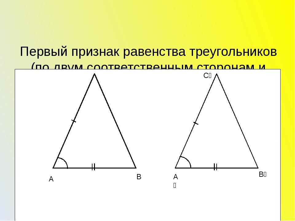Первый признак равенства треугольников (по двум соответственным сторонам и у...