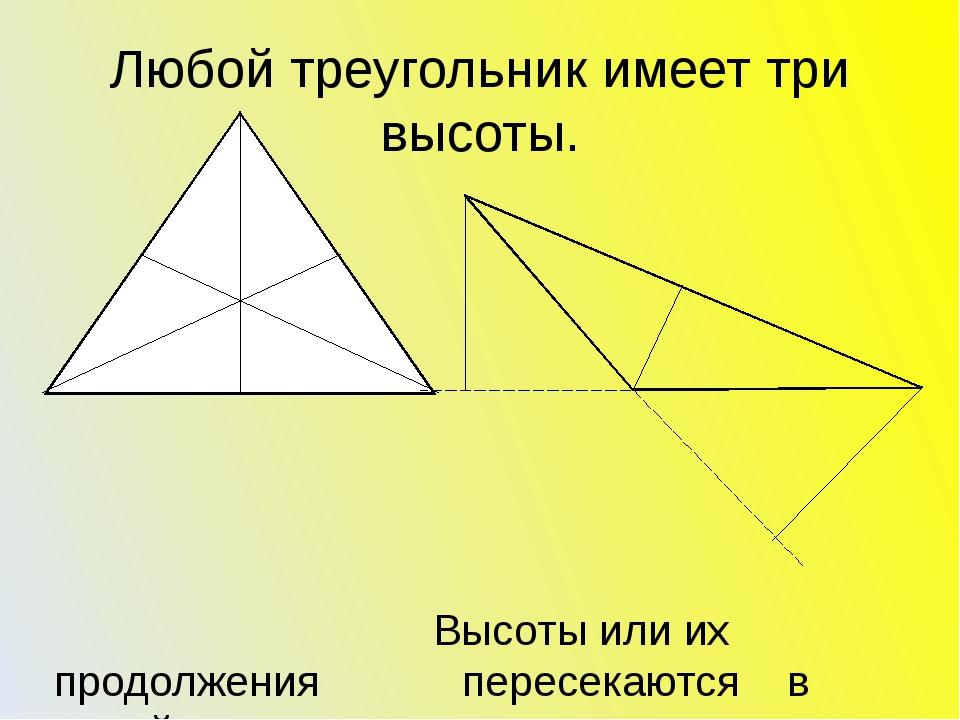 Любой треугольник имеет три высоты. Высоты или их продолжения пересекаются в...