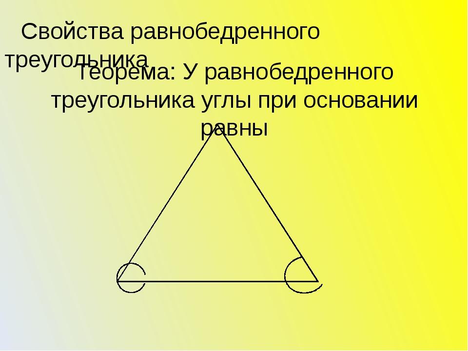 Теорема: У равнобедренного треугольника углы при основании равны Свойства рав...