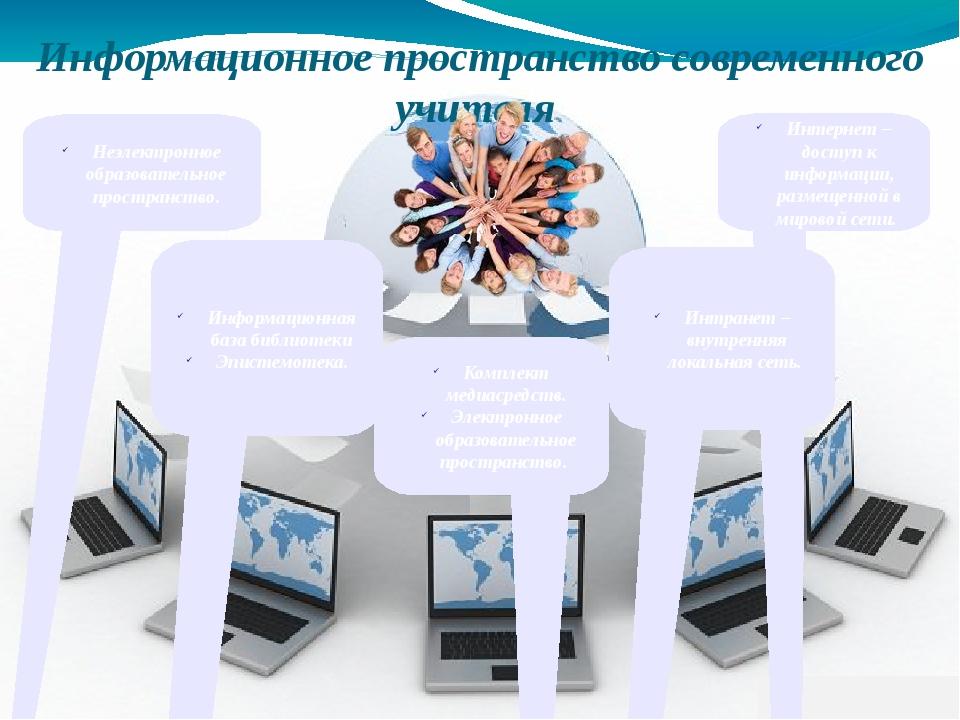 Информационное пространство современного учителя Неэлектронное образовательн...
