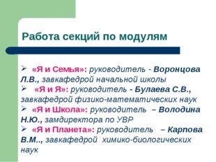 «Я и Семья»: руководитель - Воронцова Л.В., завкафедрой начальной школы «Я и