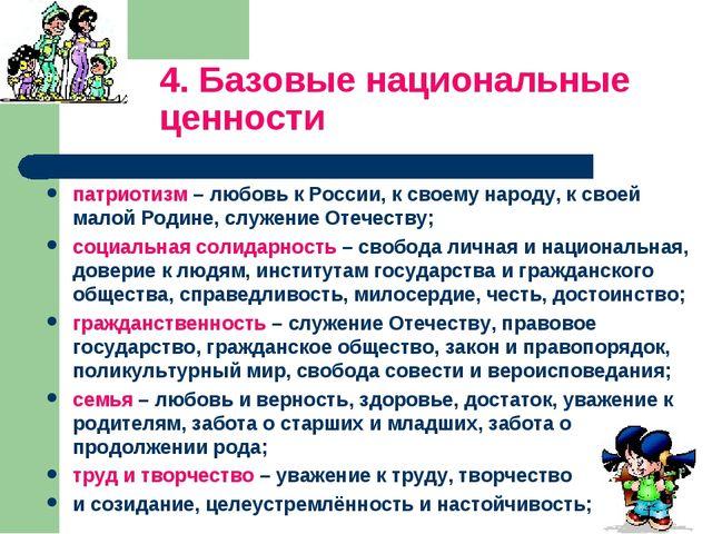 4. Базовые национальные ценности патриотизм – любовь к России, к своему народ...
