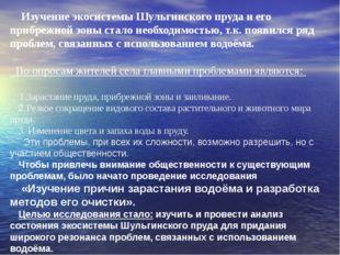 Изучение экосистемы Шульгинского пруда и его прибрежной зоны стало необходим