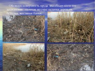 Обследуя поверхность пруда мы обнаружили его загрязнения : наличие мусора: ос