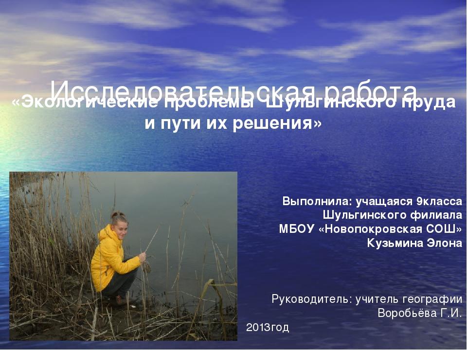 Исследовательская работа «Экологические проблемы Шульгинского пруда и пути и...