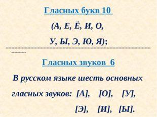 Гласных букв 10 (А, Е, Ё, И, О, У, Ы, Э, Ю, Я); ----------------------------