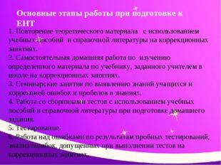 Основные этапы работы при подготовке к ЕНТ 1. Повторение теоретического матер