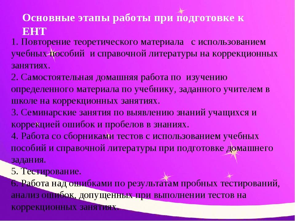 Основные этапы работы при подготовке к ЕНТ 1. Повторение теоретического матер...