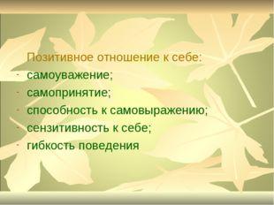 Позитивное отношение к себе: самоуважение; самопринятие; способность к самов