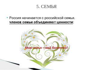 Россия начинается сроссийской семьи. членов семьи объединяют ценности: 5. СЕ