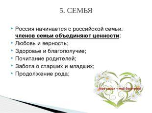 Россия начинается сроссийской семьи. членов семьи объединяют ценности: Любов