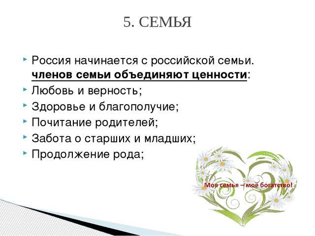 Россия начинается сроссийской семьи. членов семьи объединяют ценности: Любов...