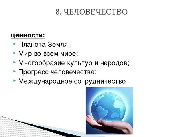 ценности: Планета Земля; Мир вовсем мире; Многообразие культур инародов; Пр...