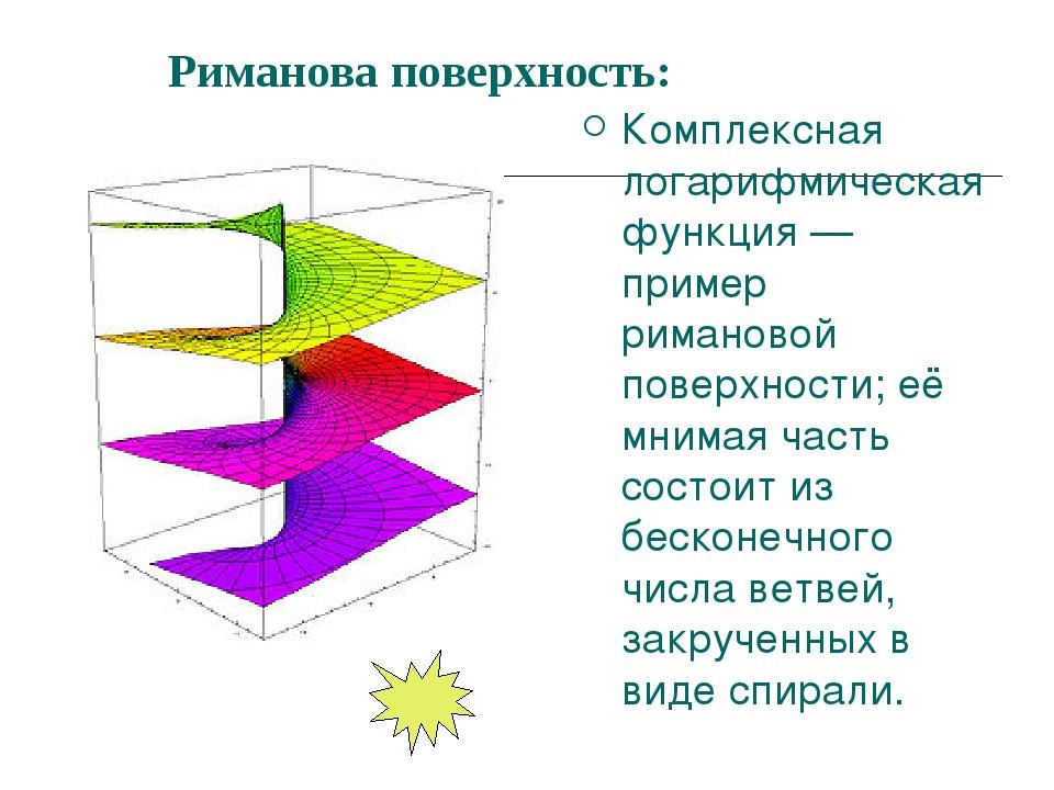 Риманова поверхность: Комплексная логарифмическая функция — пример римановой...