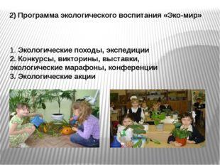 2) Программа экологического воспитания «Эко-мир» 1. Экологические походы, экс