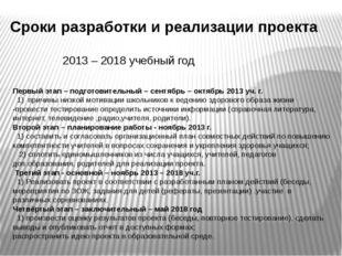 Сроки разработки и реализации проекта 2013 – 2018 учебный год Первый этап – п