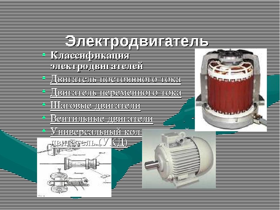 Электродвигатель Классификация электродвигателей Двигатель постоянного тока...