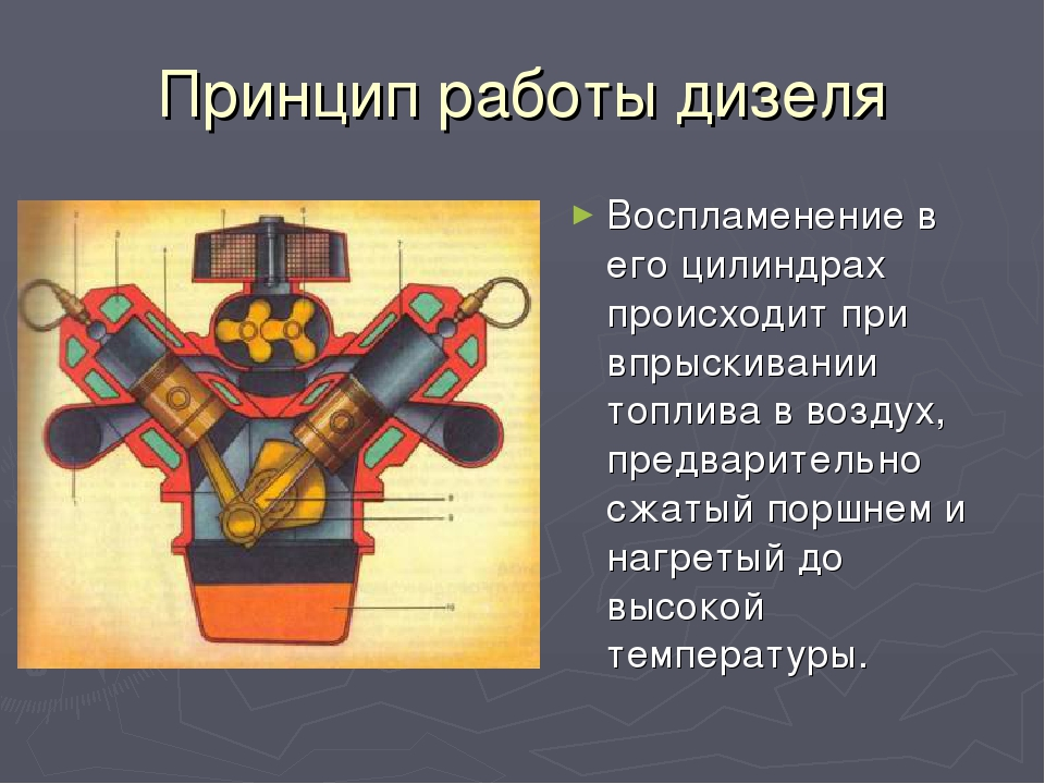 Принцип работы дизеля Воспламенение в его цилиндрах происходит при впрыскиван...