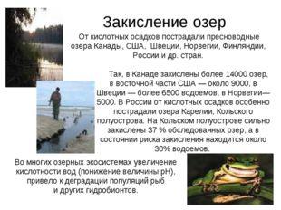 Закисление озер От кислотных осадков пострадали пресноводные озера Канады, С