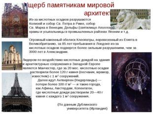 Ущерб памятникам мировой архитектуры Из-за кислотных осадков разрушаются Кол