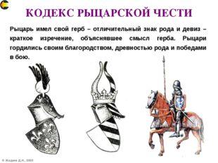 © Жадаев Д.Н., 2005 КОДЕКС РЫЦАРСКОЙ ЧЕСТИ Рыцарь имел свой герб – отличитель