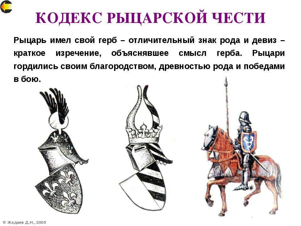© Жадаев Д.Н., 2005 КОДЕКС РЫЦАРСКОЙ ЧЕСТИ Рыцарь имел свой герб – отличитель...