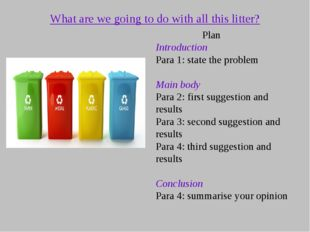 What are we going to do with all this litter? Plan Introduction Para 1: state