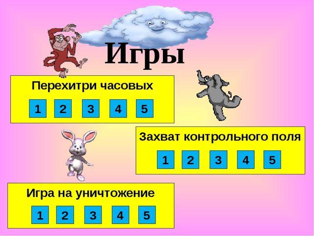 Игра на уничтожение Захват контрольного поля Перехитри часовых Игры 1 2 3 4 5...