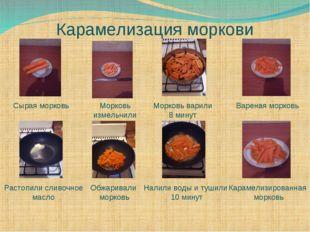 Карамелизация моркови Сырая морковь Морковь измельчили Морковь варили 8 минут