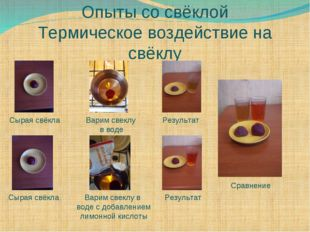 Опыты со свёклой Термическое воздействие на свёклу Сырая свёкла Сырая свёкла