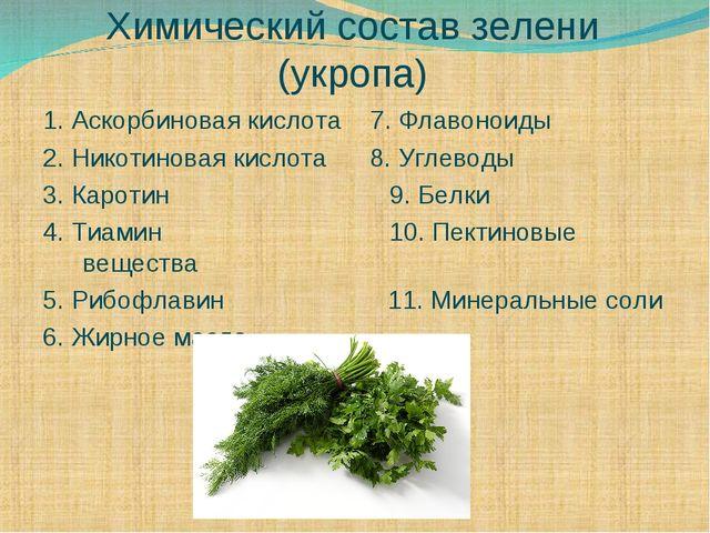 Химический состав зелени (укропа) 1. Аскорбиновая кислота 7. Флавоноиды 2. Ни...