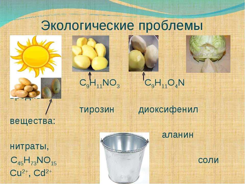 Экологические проблемы C9H11NO3 C9H11O4N вредные тирозин диоксифенил вещества...