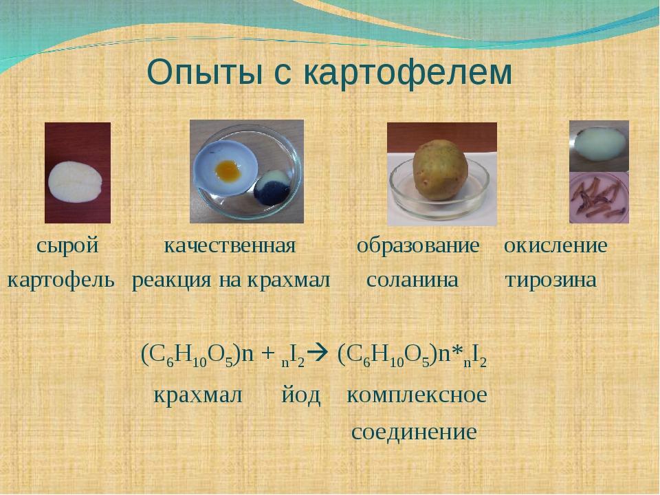 Опыты с картофелем сырой качественная образование окисление картофель реакция...