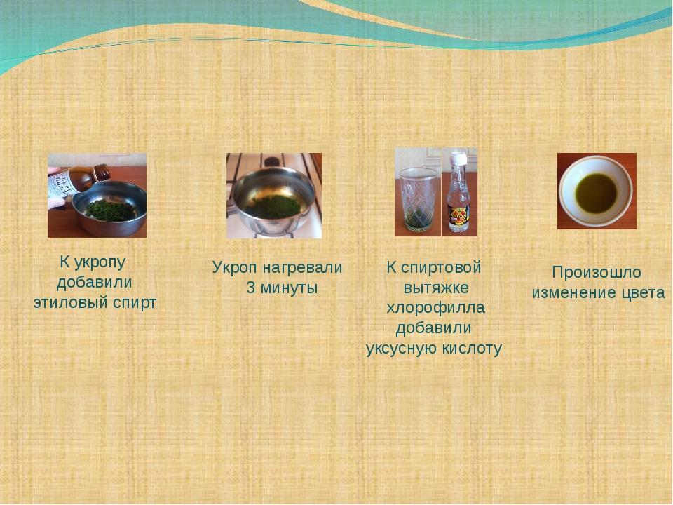К укропу добавили этиловый спирт Укроп нагревали 3 минуты К спиртовой вытяжке...