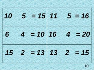 10 10 5 = 15 11 5 = 16 6 4 = 10 16 4 = 20 15 2 = 13 13 2 = 15