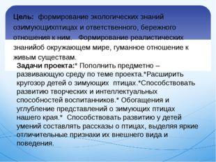 Цель: формированиеэкологических знаний озимующихптицах иответственного, бе