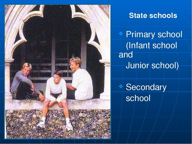 Primary school (Infant school and Junior school) Secondary school State scho...