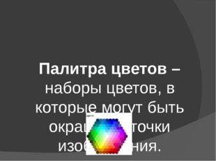 Палитра цветов – наборы цветов, в которые могут быть окрашены точки изображен