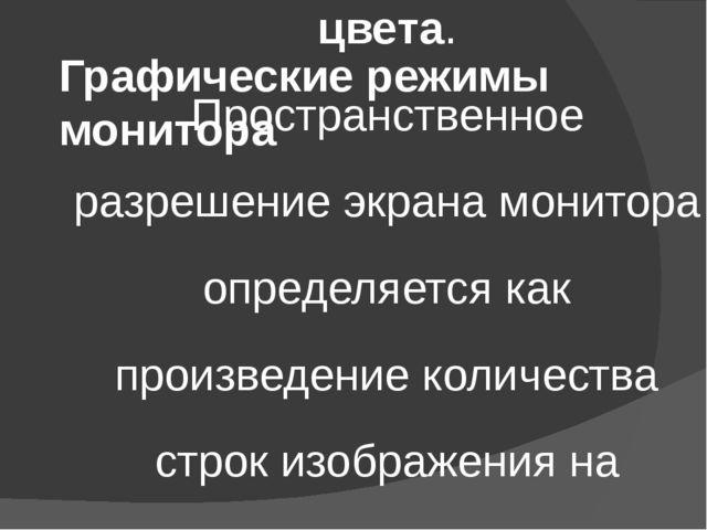 Графические режимы монитора Качество изображения на экране монитора зависит о...