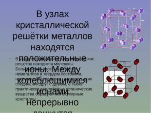 В узлах кристаллической решётки металлов находятся положительные ионы. Между