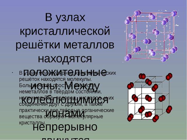 В узлах кристаллической решётки металлов находятся положительные ионы. Между...