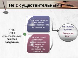 Не с существительными Если есть скрытое или явное противопоставление (с союзо