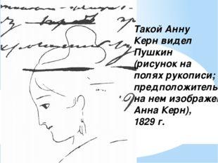 Такой Анну Керн видел Пушкин (рисунок на полях рукописи; предположительно на