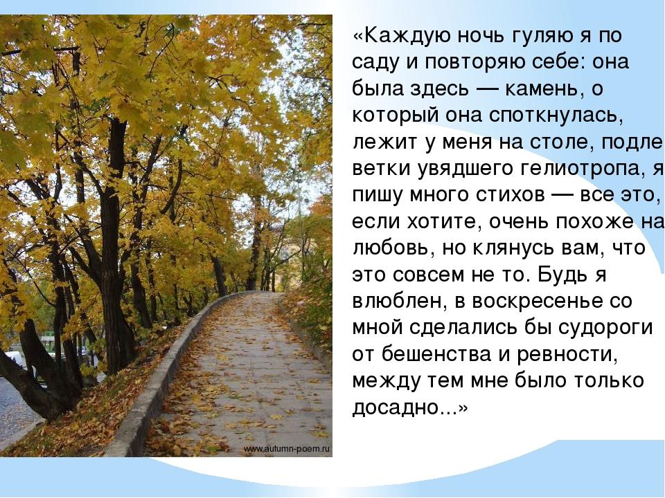 «Каждую ночь гуляю я по саду и повторяю себе: она была здесь — камень, о кото...