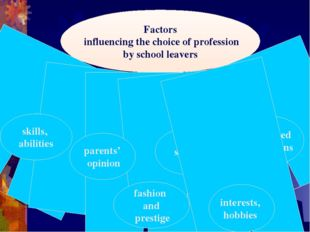 Factors influencing the choice of profession by school leavers skills, abilit